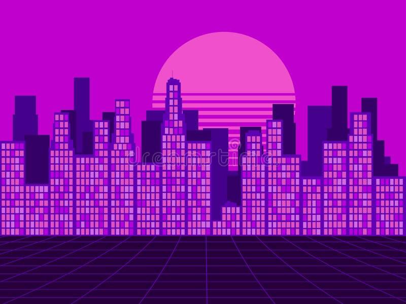 仿照20世纪80年代样式的减速火箭的未来派城市 Synthwave减速火箭的背景 霓虹日落 Retrowave 向量 向量例证