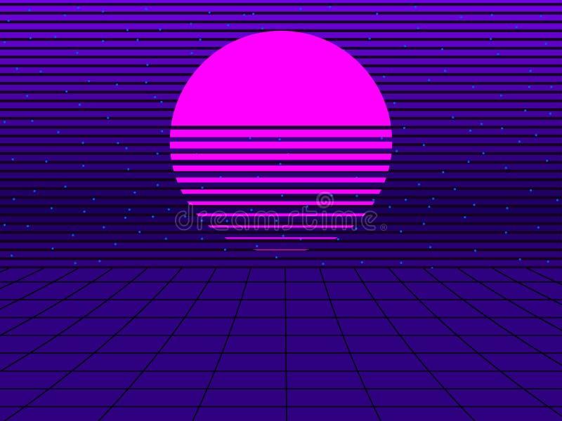 仿照80s样式的霓虹日落 Synthwave减速火箭的未来派背景 Retrowave 向量 向量例证