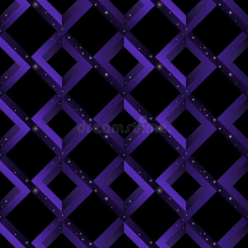 仿造不可能的形状-正方形,菱形, rhombs的几何无缝的幻觉样式 满天星斗的天空 皇族释放例证