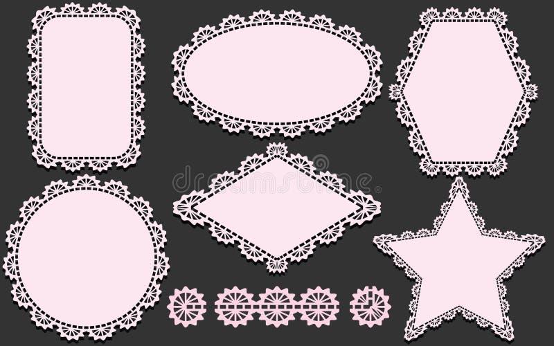 仿造刷子和套餐巾用不同的形式 在灰色背景隔绝的桃红色小垫布元素 皇族释放例证