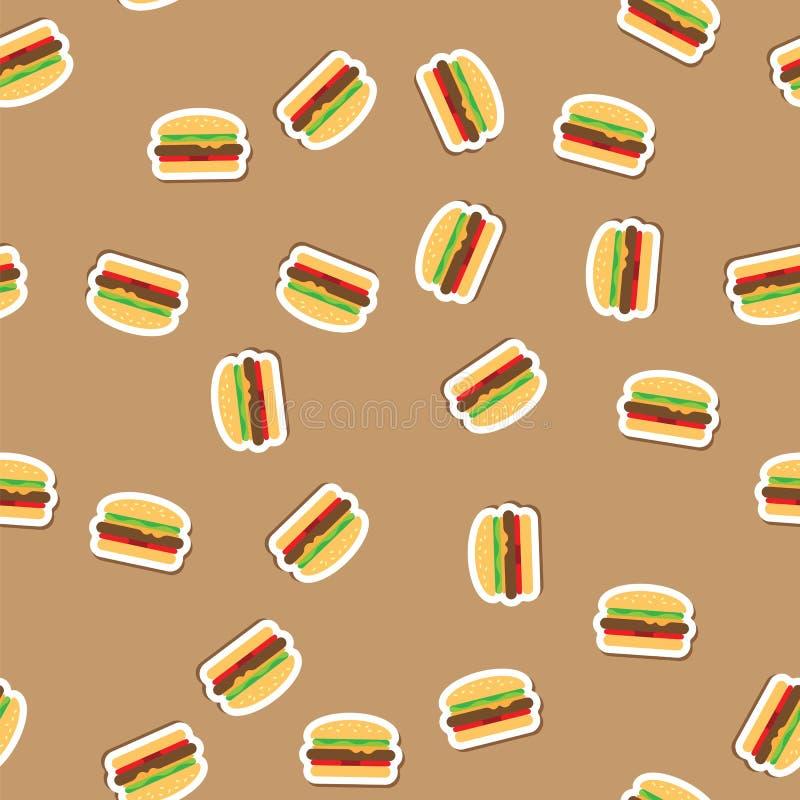 仿造可口汉堡用水多的肉、菜和乳酪在新鲜的小圆面包用芝麻在米黄背景 汉堡 库存例证