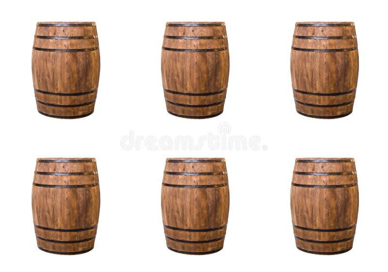 仿造在白色背景行的背景手工制造桶酿造酒 库存图片