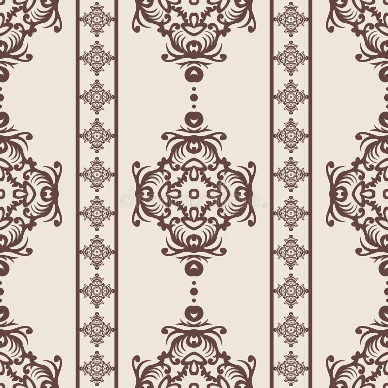 仿造无缝的葡萄酒 花卉华丽墙纸 与装饰装饰品和花的黑暗的传染媒介锦缎背景在巴落克式样 库存例证