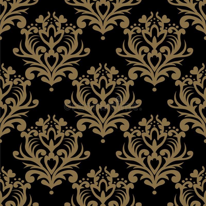 仿造无缝的葡萄酒 花卉华丽墙纸 黑暗的传染媒介d 库存例证