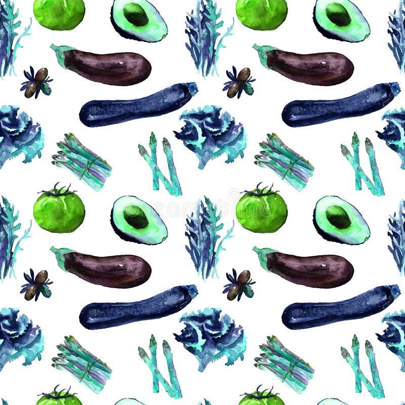 仿造无缝的蔬菜 反复性的样式用健康食物 库存例证