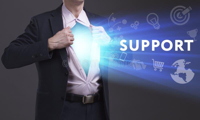 企业、技术、互联网和网络概念 年轻商人显示词:支持 免版税库存图片