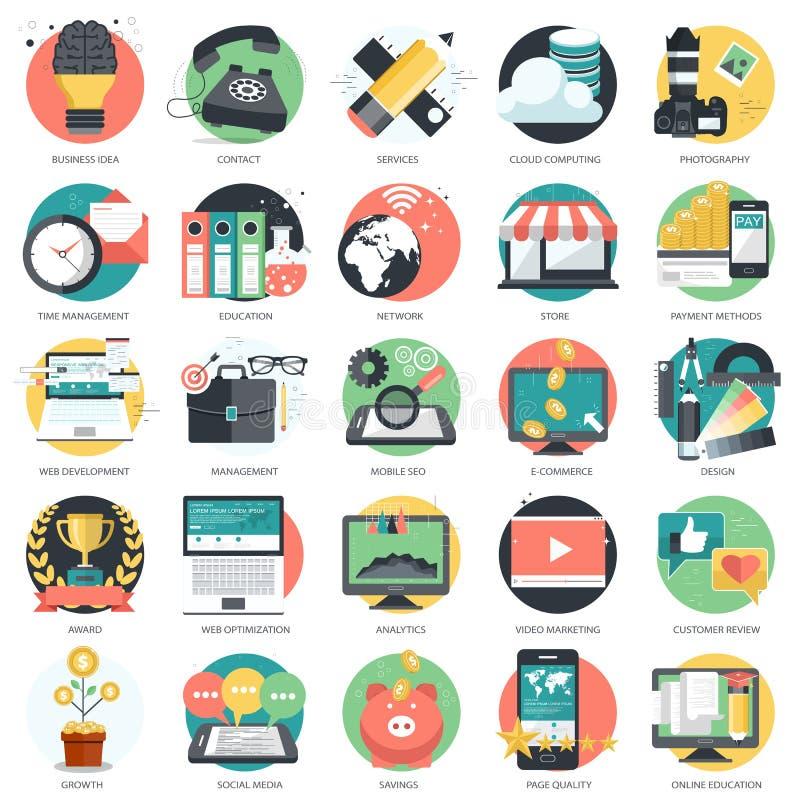 企业、技术和财务象为网站设置了和流动应用和服务 平的传染媒介 向量例证
