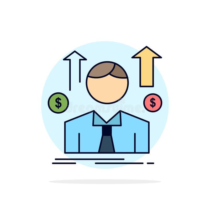 企业、男人、阿凡达、员工、销售人员平面颜色图标矢量 向量例证