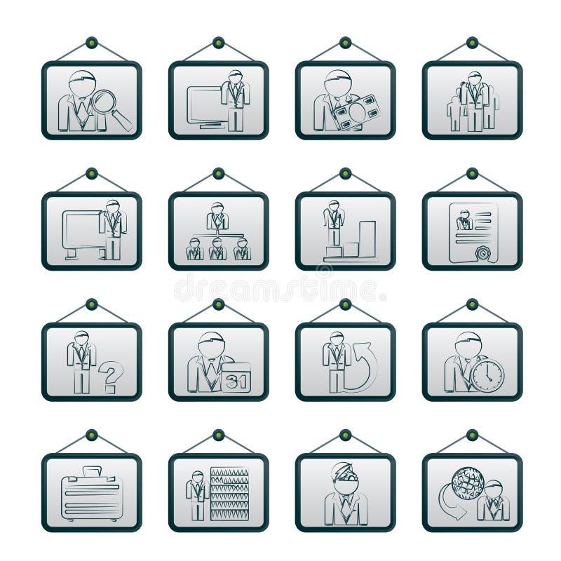 企业、管理和层次结构图标 库存例证