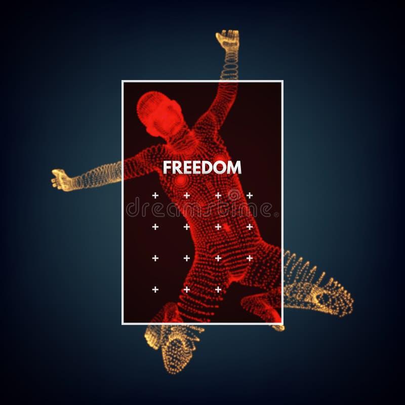 企业、自由或者幸福概念 3D人模型  人体模型 库存例证