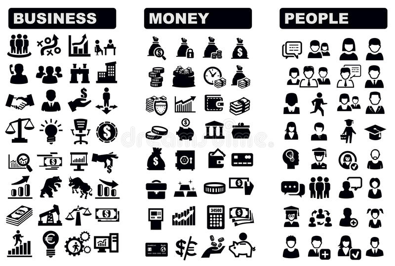 企业、货币和人图标 向量例证