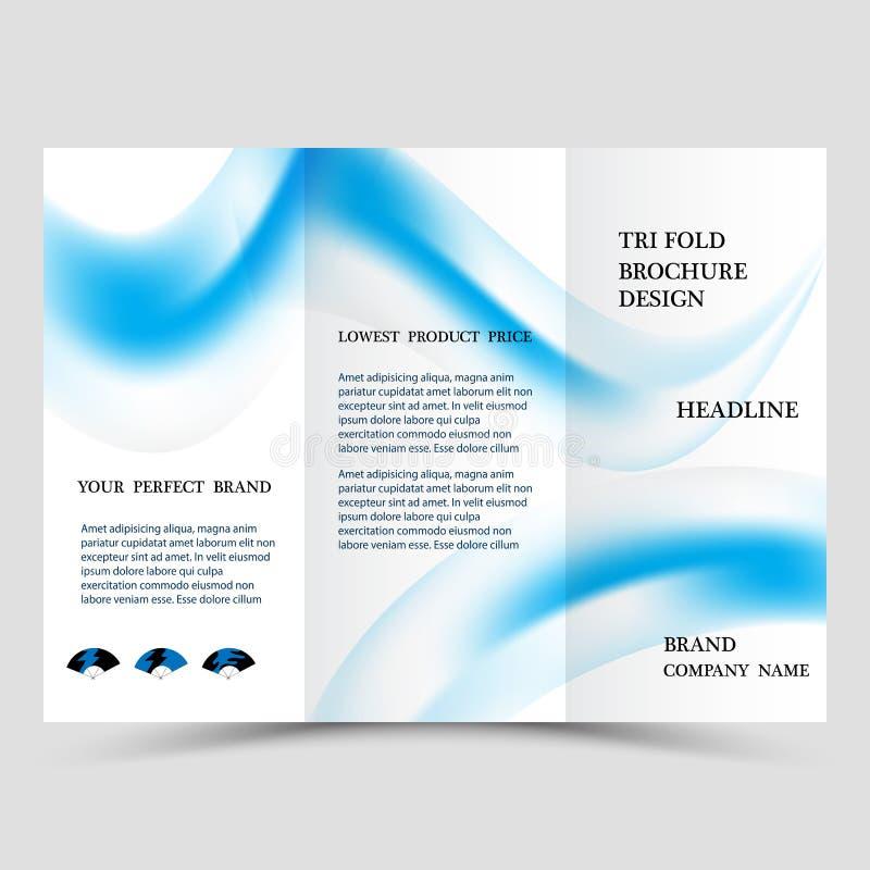 企业三部合成的小册子设计 三部合成的飞行物的蓝色公司业务模板 与现代形状的照片的布局 向量例证