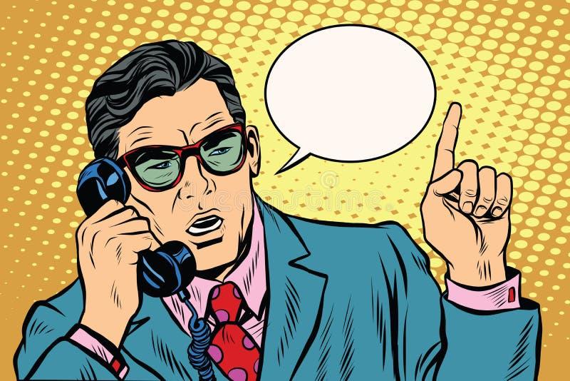 企业上司谈话在电话,减速火箭的背景 皇族释放例证