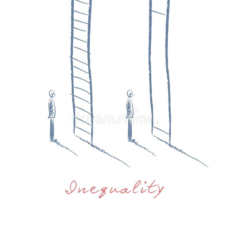 企业不平等与两站立在不同的公司梯子标志前面的商人的概念传染媒介 手 库存例证