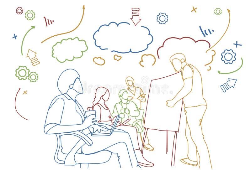 企业与乱画小组的训练研讨会买卖人一起召开会议会议 库存例证