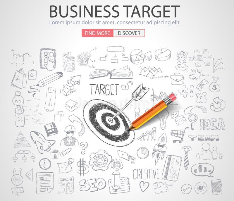 企业与乱画设计样式的Targe概念 库存例证