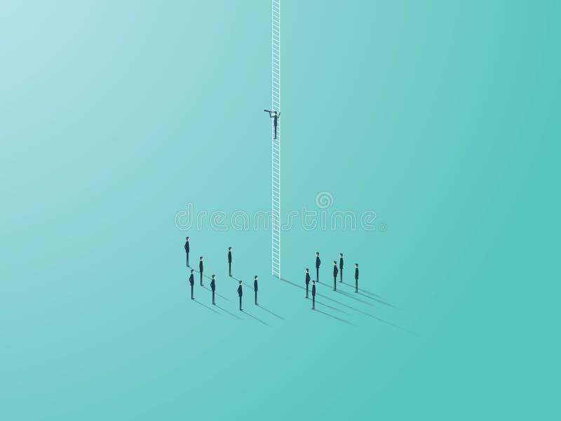 企业与商人站立在梯子的传染媒介标志的视觉概念看通过单眼 战略和 库存例证