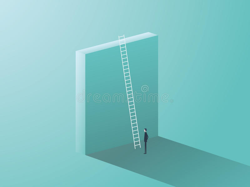 企业与大墙壁和梯子的挑战概念 站立在前面,事业成长的标志的商人,发现 向量例证
