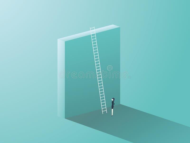 企业与大墙壁和梯子的挑战概念 站立在前面,事业成长的标志的女实业家,发现 向量例证