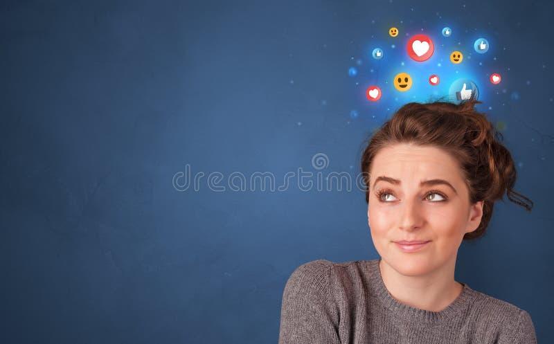 企业与社会媒介概念的人身分 免版税库存图片