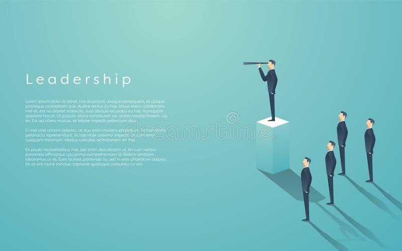 企业与站立在柱子的商人的领导概念 经理,行政地位传染媒介墙纸 向量例证