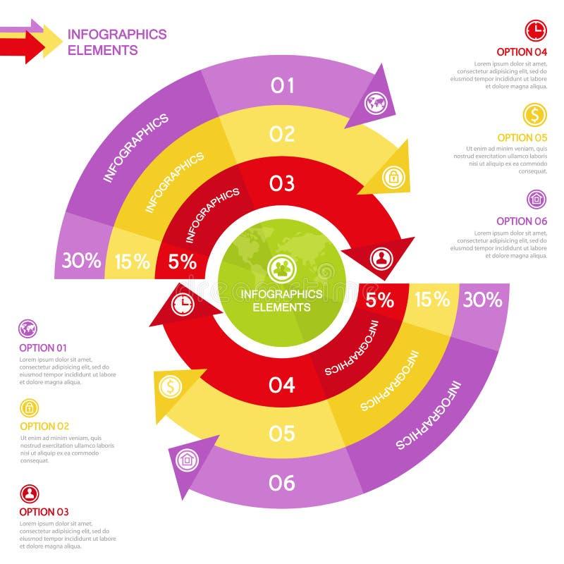 企业与箭头的Infographics圈子企业介绍的 库存例证