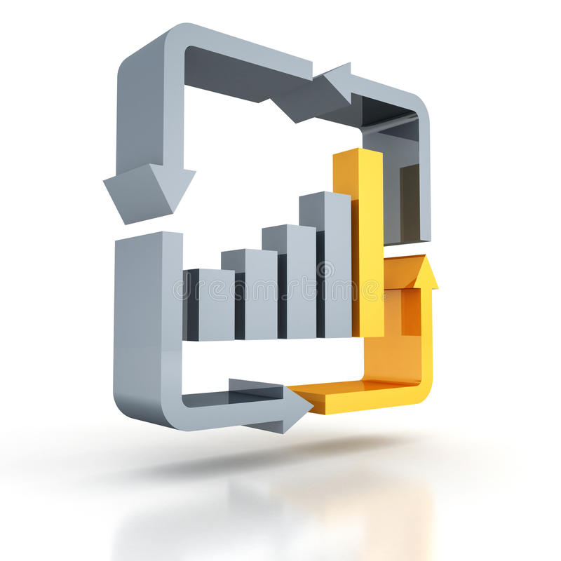 企业与被循环的箭头的条形图图标 向量例证