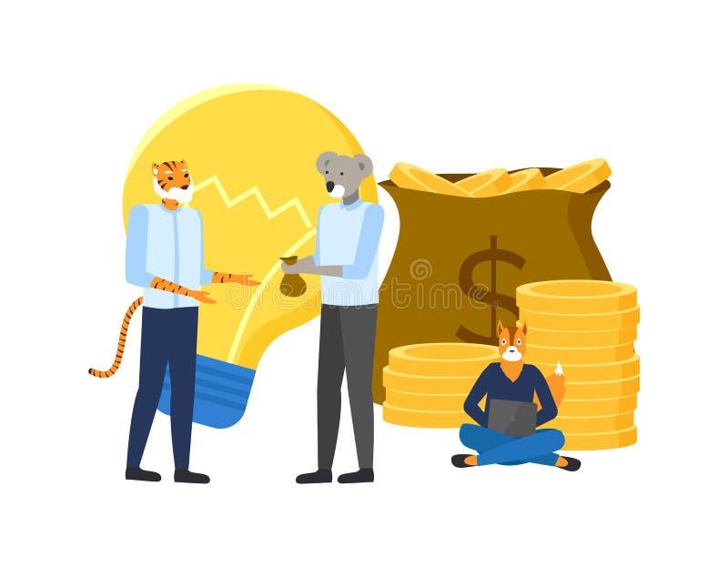 企业与金钱的行家动物想法 库存例证