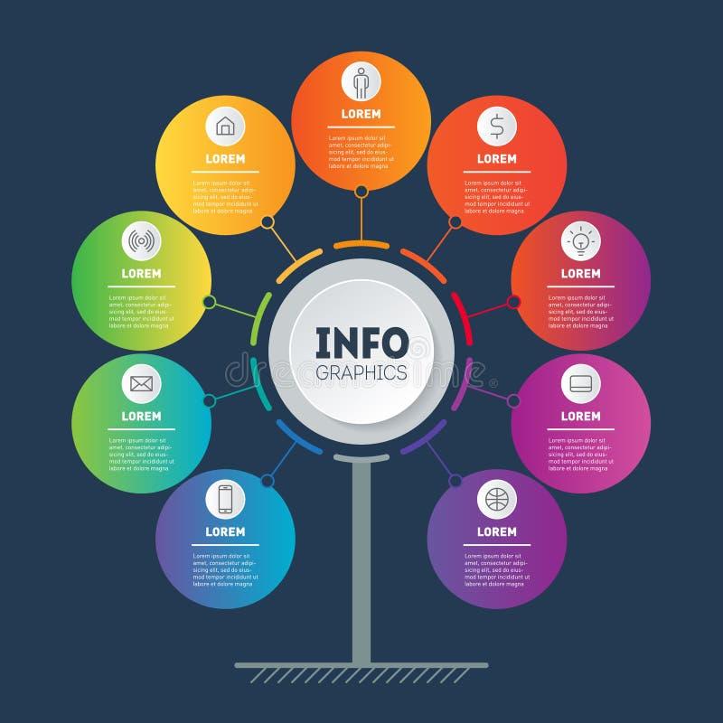 企业与9个选择的介绍概念 树、信息图或者图模板与九过程 技术Infographic  皇族释放例证