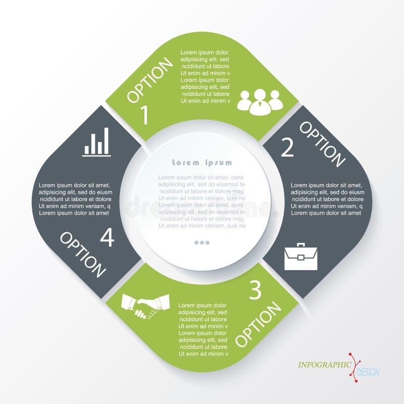 企业与4段的构思设计 Infographic模板 库存例证