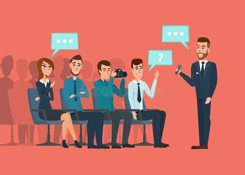 企业专业会议 新闻工作者和摄影师 向量例证