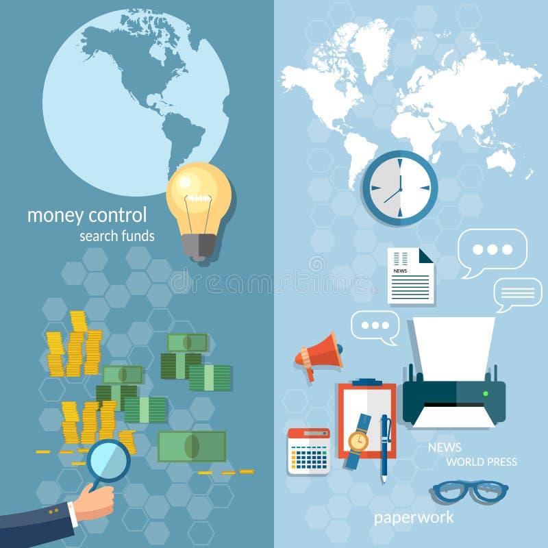 企业世界概念汇款交易横幅 向量例证