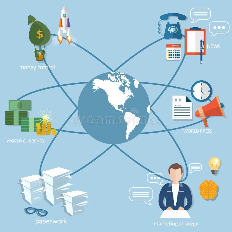 企业世界概念汇款交易 库存例证