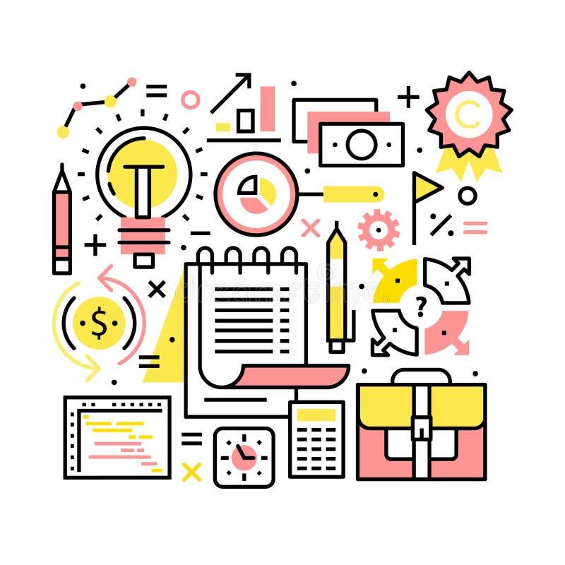 企业世界概念 计划,时间安排 库存例证