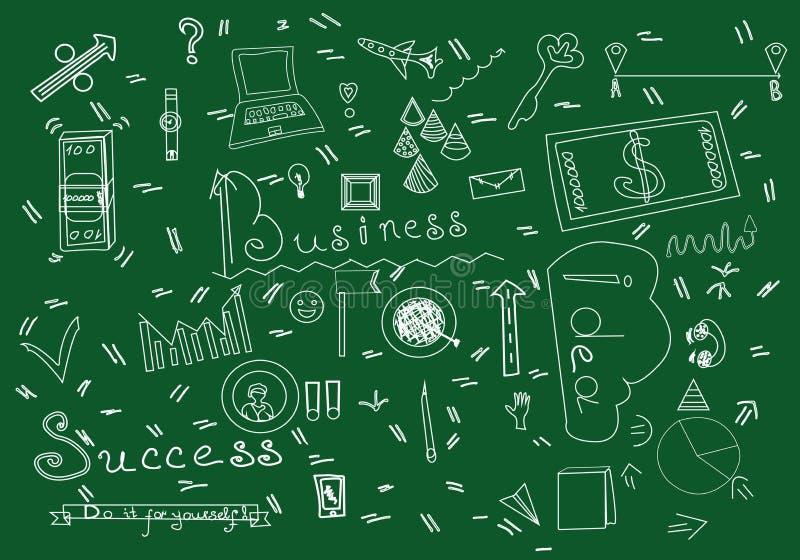 企业乱画材料传染媒介例证 企业在绿色背景隔绝的标志剪影 库存照片