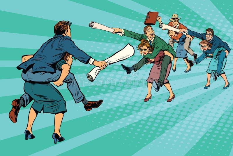 企业争斗性别不平等 库存例证