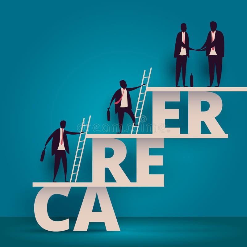 企业事业成长概念 上升经理的雇员或的工作者得到工作 在公司compa的职员或人员追求 皇族释放例证
