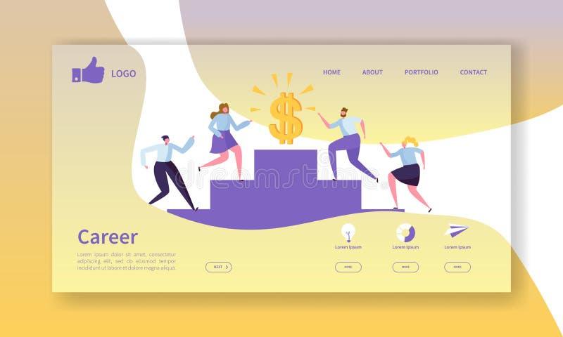 企业事业着陆页模板 与去成功的平的人字符的网站布局 皇族释放例证