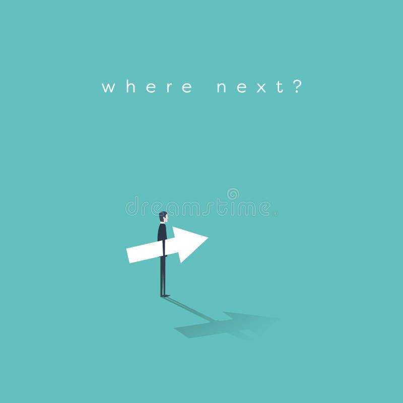企业事业移动与做出关于他的未来事业和公司梯子的商人的概念传染媒介一个决定 向量例证