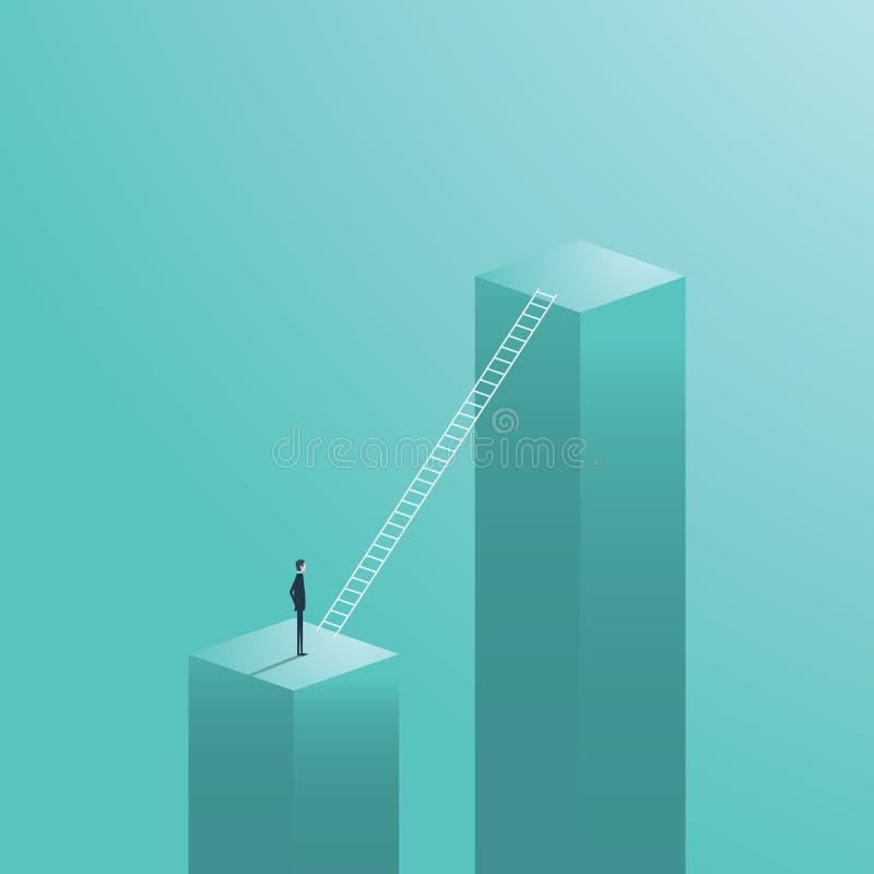 企业事业移动,与站立在公司梯子标志旁边的商人的机会 库存例证