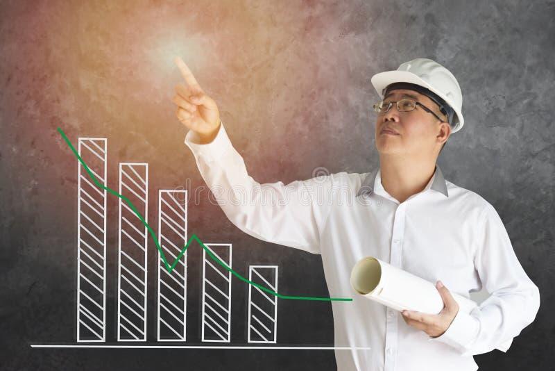企业亚洲人背景迷离站立的穿一件白色衬衣 图表,统计表明正向 免版税库存图片