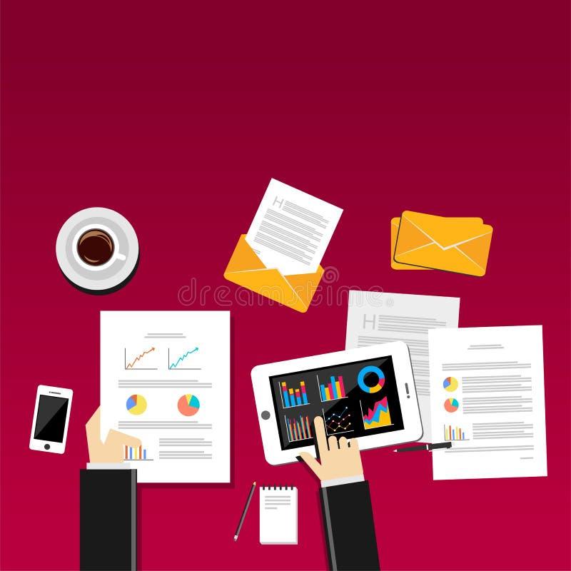 企业人在有智能手机、图表和桌的工作场所工作 库存例证