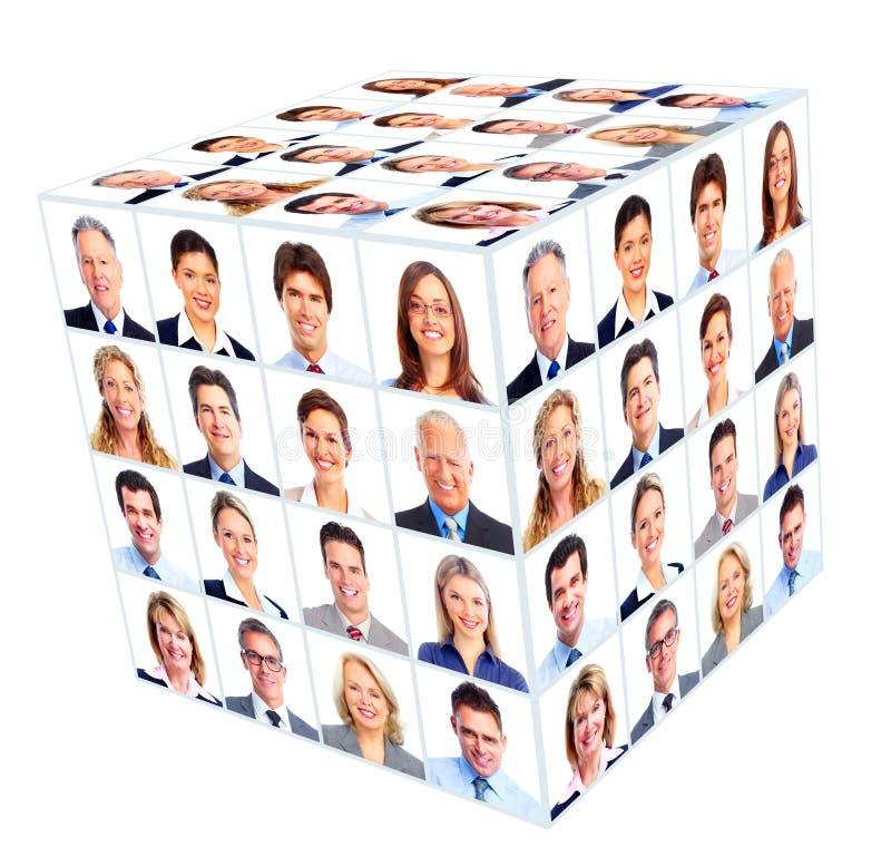 企业人小组。立方体拼贴画。 免版税库存图片