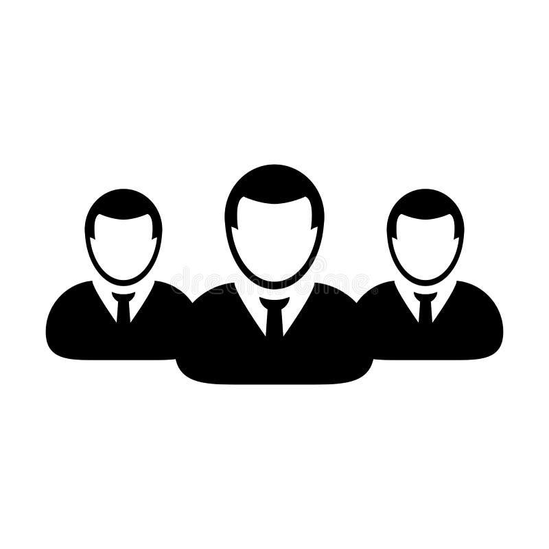 企业人象传染媒介男性小组人业务管理队的标志具体化在平的颜色纵的沟纹图表 向量例证