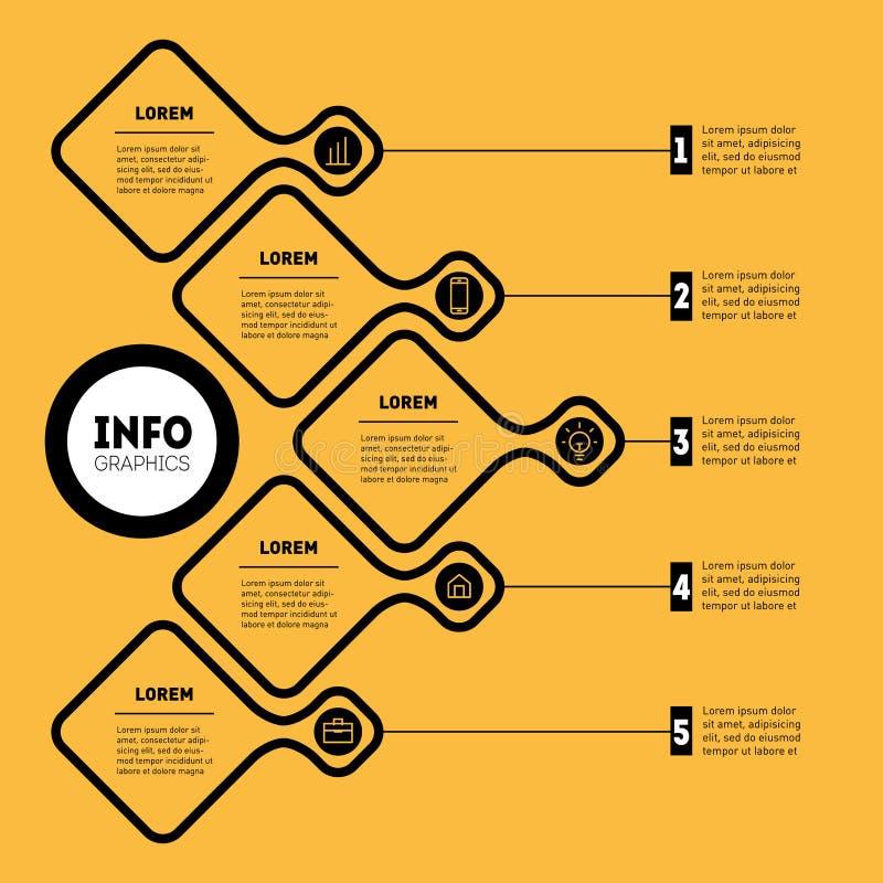 企业介绍或信息图表模板 教育, techn 库存例证