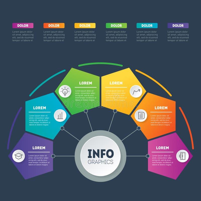 企业介绍或infographic与6个选择 传染媒介信息 向量例证