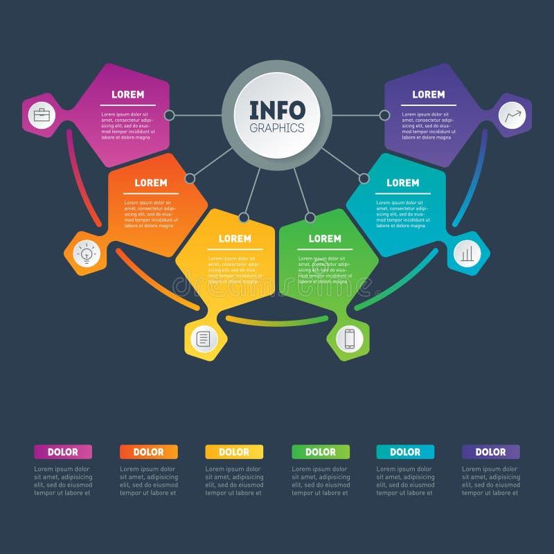 企业介绍或infographic例子与6个选择 Ve 库存例证