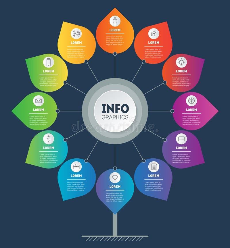企业介绍或infographics概念与12个选择和象 ?? 树、图或者图模板  信息图表 库存例证