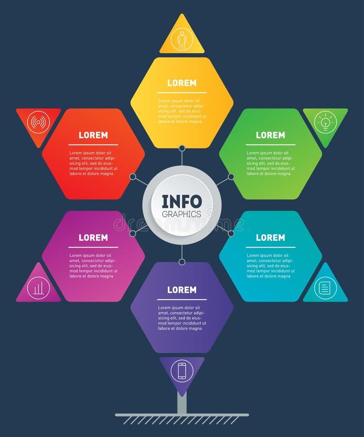 企业介绍或infographics概念看起来星,与6个选择 发展树,信息图网模板或 库存例证