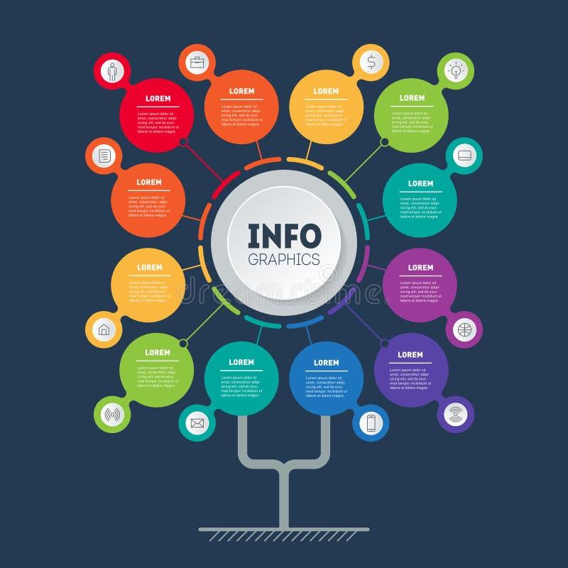 企业介绍概念与12个选择或月 树、信息图或者图模板与十二个过程 皇族释放例证